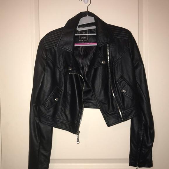 41fcb90d947c0 Guess Jackets & Coats | Black Leather Jacket Cropped | Poshmark